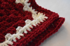 Red crochet Cat Mat with Soft White Detail from Critter Crafting
